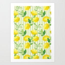 The Fresh Striped Lemon Vector Seamless Pattern Art Print