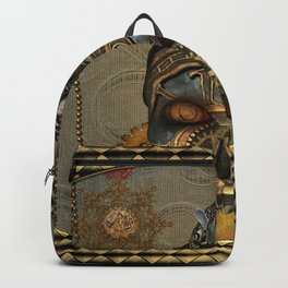 Steampunk, awesome steampunk skull with steampunk rat Backpack