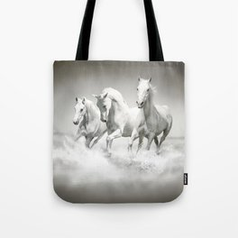 Wild White Horses Tote Bag