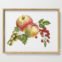 Fruit on a white background. Apples, red currants, grapes. Serving Tray