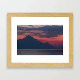Beautiful Sunrise Over Mount Athos, Greece Framed Art Print