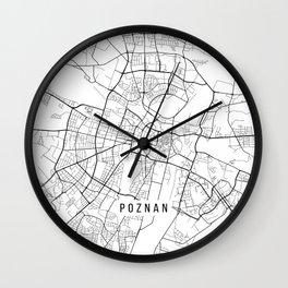 Poznan Map, Poland - Black and White Wall Clock