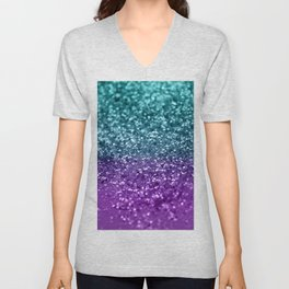 Purple Teal MERMAID Girls Glitter #1 #shiny #decor #art #society6 Unisex V-Neck