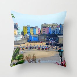 Tenby Harbour.Colour.Reflection. Throw Pillow