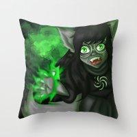 homestuck Throw Pillows featuring Homestuck: Grimbark Jade by EternalAshley225