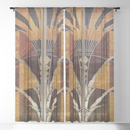 Art nouveau,Original wood work, elevator door, NYC Building Sheer Curtain