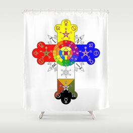 Freemasonic Rosy Cross Shower Curtain