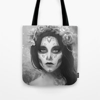 day of the dead Tote Bags featuring Day of the Dead by Nicolas Jamonneau