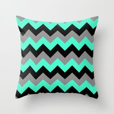 Chevron Silver Blue Throw Pillow