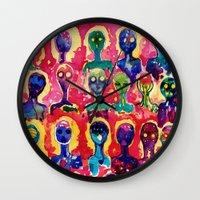 aliens Wall Clocks featuring aliens  by Verismaya