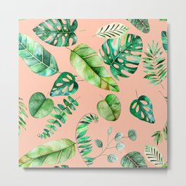Tropical Leaves on Peach Metal Print