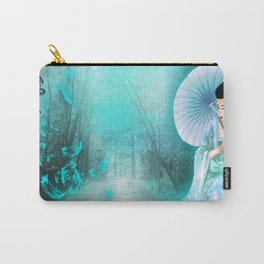 Geisha In Teal Carry-All Pouch