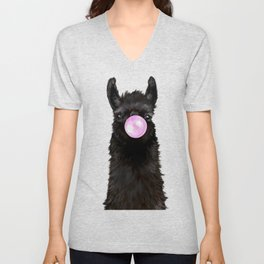 Bubble Gum Popped on Black Llama (1 in series of 3)  Unisex V-Neck