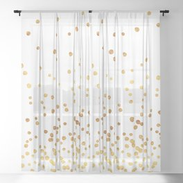 Floating Dots - Gold on White Sheer Curtain