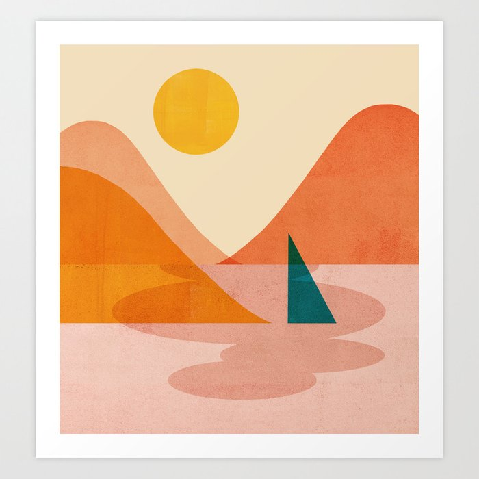 Abstraction_Lake_Sunset Art Print