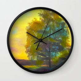 Lonely birch in autumn rural road Wall Clock