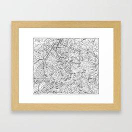 Vintage Map of Brussels (1905) BW Framed Art Print