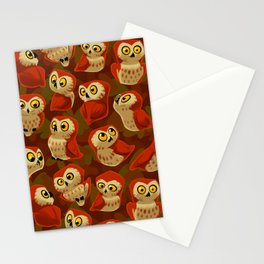 Northern Saw-whet owls pattern. Stationery Cards