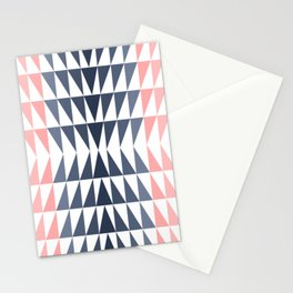 Triangles in Blush, Coral and Navy Stationery Cards