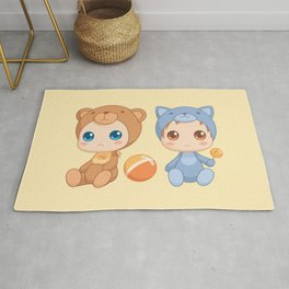 Babies in Cat and Bear Jumpsuits Rug