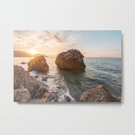 Rocky beach at sunset Metal Print