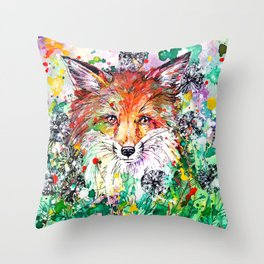 Hide and Seek - Fox Painting Throw Pillow