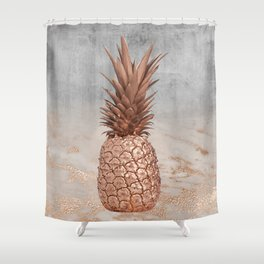 Pineapple in Glitter Marble Rose Gold And Concrete Shower Curtain