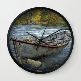Canoe on the Thornapple River in Autumn Wall Clock