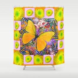 GOLDEN-YELLOW POPPIES  FLOWER BUTTERFLIES FLORAL Shower Curtain