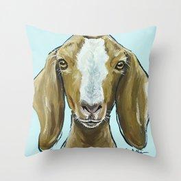 Goat Art, Cute Farm Animal Painting Throw Pillow
