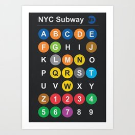 New York City subway alphabet map, NYC, lettering illustration, dark version, usa typography Art Print