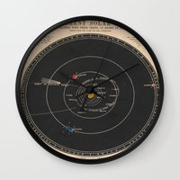 solar system Wall Clocks featuring Solar System by Le petit Archiviste