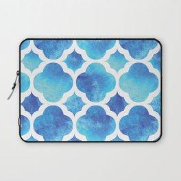 Watercolor Moroccan Quatrefoil Clover Trellis in Turquoise Sea Laptop Sleeve