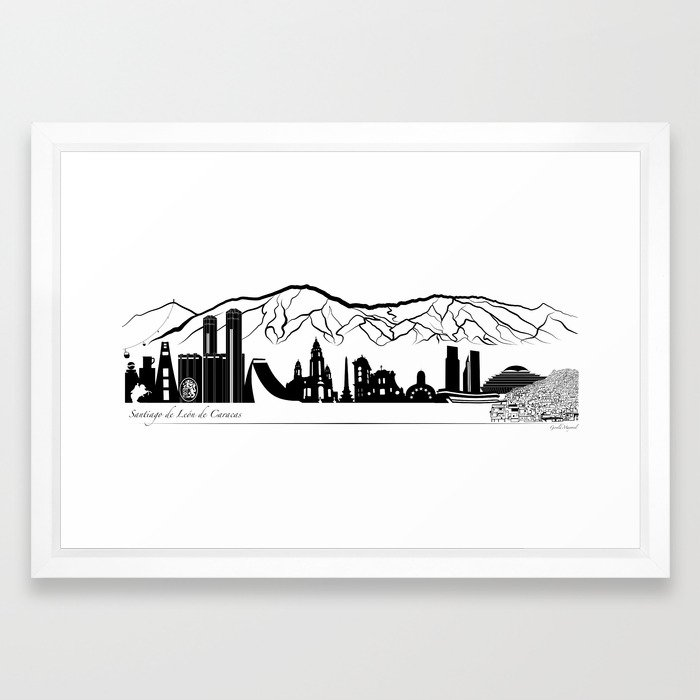 Skyline Caracas - Panoramic illustration Framed Art Print by ...