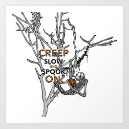 "Halloween sloth ""creep slow and spook on."" Tree Art Print"