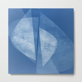 Mid Century Modern Blue and White Geometric Square Format Abstract Metal Print