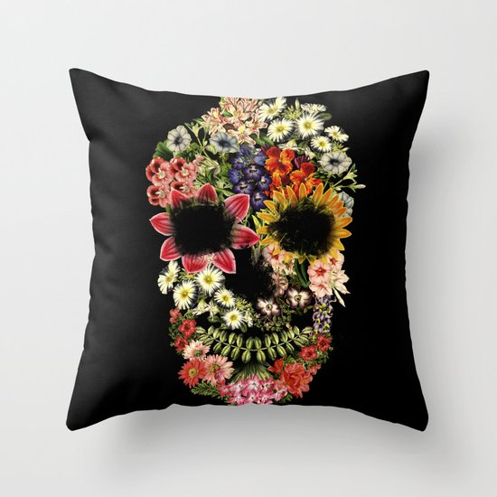 Floral Skull Vintage Black Throw Pillow