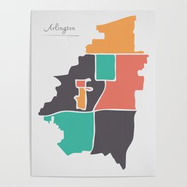 Arlington Texas Map with neighborhoods and modern round shapes Poster