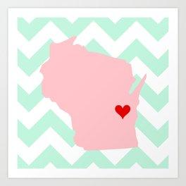 Oshkosh and Fond Du Lac, Wisconsin in Pink on Mint Chevron Art Print