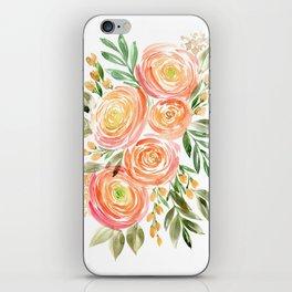 Watercolor ranunculus in rose gold iPhone Skin