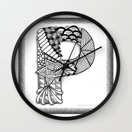 Zentangle P Monogram Alphabet Initials Wall Clock