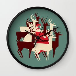 Deer Santa Wall Clock