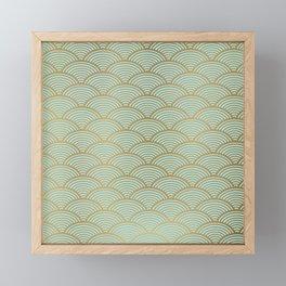 Festive, Art Deco, Wave, Pattern, Green and Gold Framed Mini Art Print