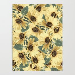 Bed Of Sunflowers Poster