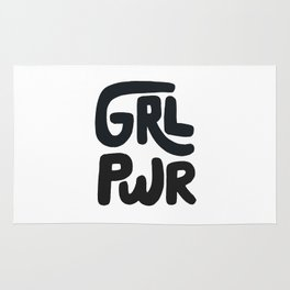 Grl Pwr black and white Rug