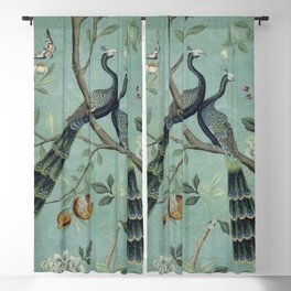 A Teal of Two Birds Chinoiserie Blackout Curtain