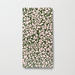 Stone Pattern - Salmon Pink & Olive Green Metal Print