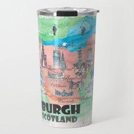 Edinburgh Scotland Illustrated Travel Poster Favorite Map Travel Mug