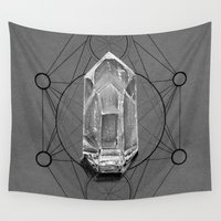 sacred geometry Wall Tapestries featuring Sacred Geometry Black and Grey by Coreypopp