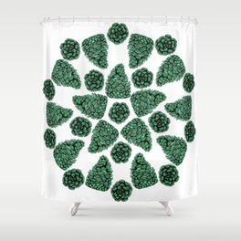 The Art of the Green Pinecones Shower Curtain
